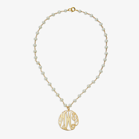 Monogram Pendant Pearl Necklace