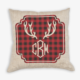 Monogram Plaid Antlers Christmas Linen Decorative Pillowcase