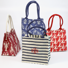 Monogram Embroidered Itsy bitsy Seaside Canvas Tote Bag