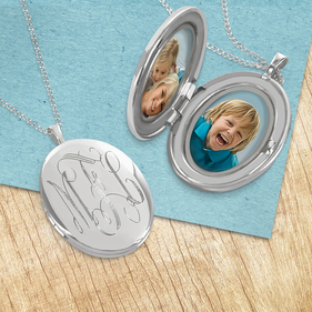 Monogram Silver Locket Necklace Personalized With Engraved Script Monogram