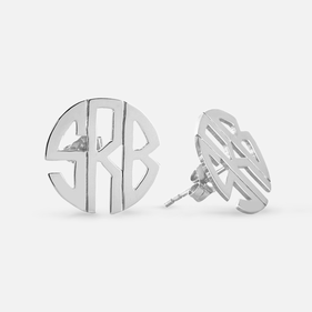 Monogram Sterling Silver Small Block Style Post Earrings