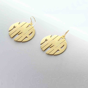 Monogram Block Style Earrings in Silver