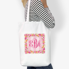 Monogram Square Wreath Custom Cotton Tote Bag