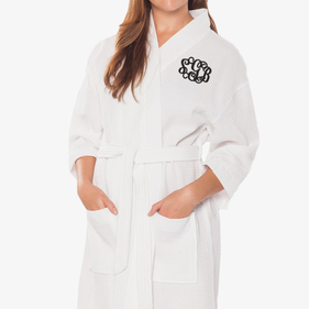 Exclusive Sale - Monogram Waffle Cotton Robe