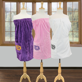 "Exclusive Sale - Monogram Terry Bath Spa Wrap with Pocket <p><span style=""color:#ff0000;"">***PINK WRAP TOWEL IS CURRENTLY OF STOCK***"