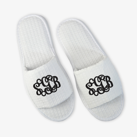 Exclusive Sale - Monogram White Waffle Slippers