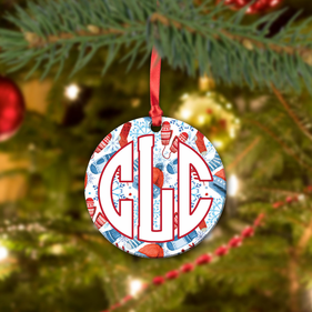 Monogram Winter Ceramic Round Ornament