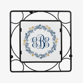 Monogram Wreath Black Iron Trivet