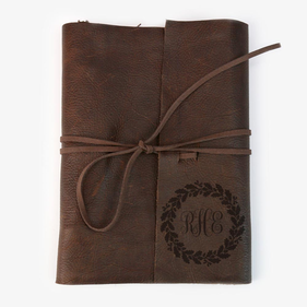Monogram Wreath Leather Binder 3 Ring Writing Journal