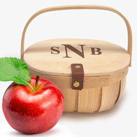 Monogrammed Chipwood Basket with Wood Lid