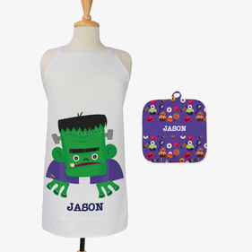 Monster Custom Kids 2-Piece Halloween Apron & Potholder Set