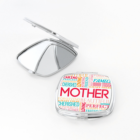 Flash Sale - Mother's Custom Word Art Square Shaped Compact Mirror