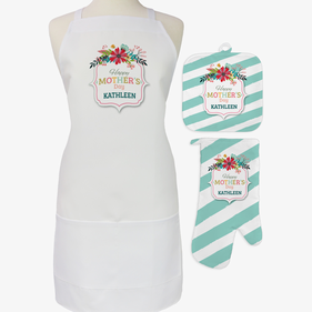 Mother's Day 3-Piece Custom Apron, Potholder & Oven Mitt Set