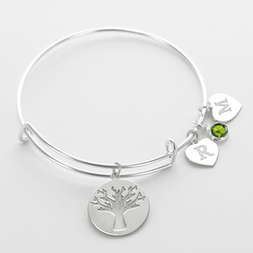 Silver Tone Life Tree Family Charm Bangle Personalized w/ Birthstone