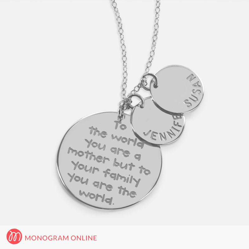 s necklace with engraved quote and personalized