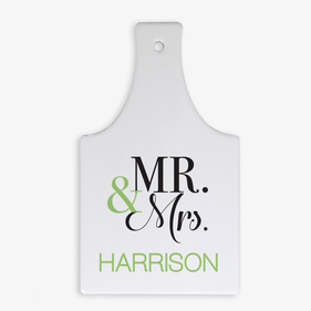 Mr. & Mrs. Custom Bottle-Shaped Hot Pad Trivet w/ Cork Base