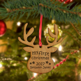 My First Christmas Custom Wood Reindeer Ornament