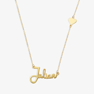 Name Necklace - Woman - Gold Over Silver Name Necklace w/ Small Heart
