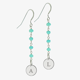 Natural Gemstone Drop Earrings Personalized w/ Silver Initial Small Disks