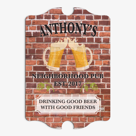 Neighborhood Pub Antique Shape Custom Bar Sign