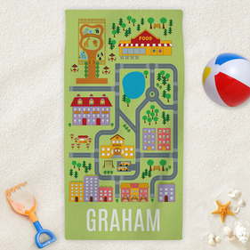 Neighborhood Road Map Custom Kids Beach Towel