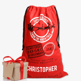 North Pole Express Delivery Custom Red Christmas Sack