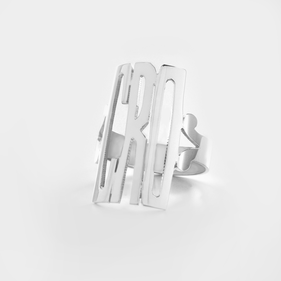 Sterling Silver Monogram Ring in Block Modern Font Letters