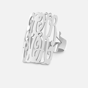 Sterling Silver Monogram Lace Ring