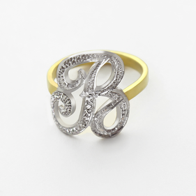 Sterling Silver Single Initial Ring