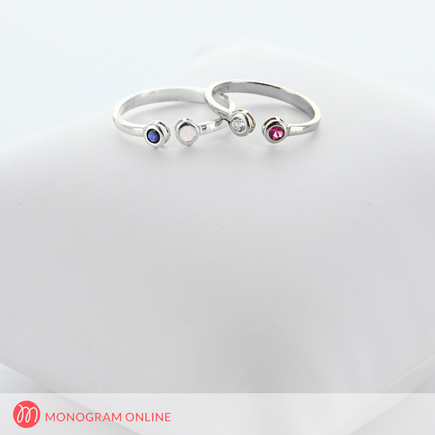 Dual Birthstone Couples Stackable Ring in Sterling Silver