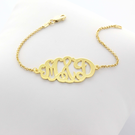 Oval Monogram Bracelet in Silver