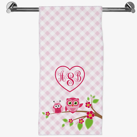 Owls On A Tree Branch Personalized Hand Towel