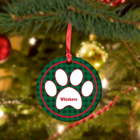 Paw Print Custom Christmas HardBoard Ornament Ball