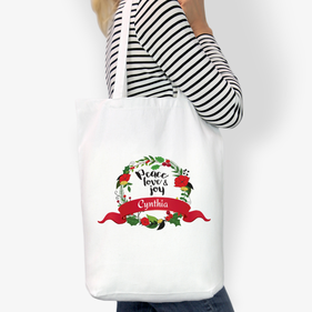 Peace Love Joy Custom Cotton Tote Bag