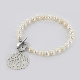 Pearl Bracelet with Sterling Silver Monogram Charm