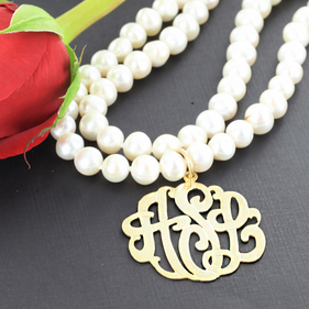 Pearl Necklace with Gold over Silver Monogram Pendant