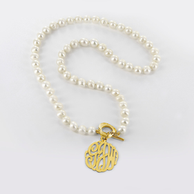 Pearl Necklace with Gold Plated Monogram Charm