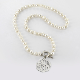 Pearl Necklace with Silver Monogram Charm