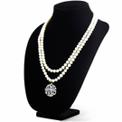 Pearl Necklace with Sterling Silver Monogram Pendant