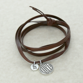 Personalize Love Charm Wrap Leather Bracelet
