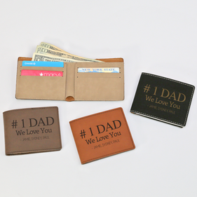 Personalized #1 Dad Leatherette Bifold Wallet