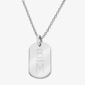 Personalized 2-Initial Sterling Silver Oval Necklace Engraved