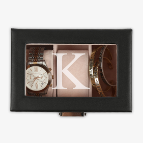Personalized 3-slot Black Leather Watch Case