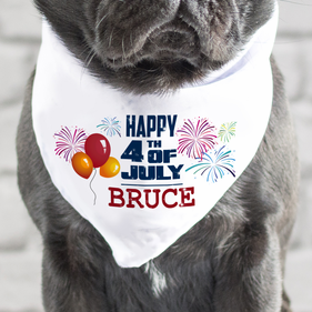 Personalized Happy 4th Of July Dog Bandana