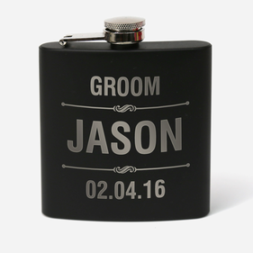 Personalized 6 oz. Matte Black Stainless Steel Flask