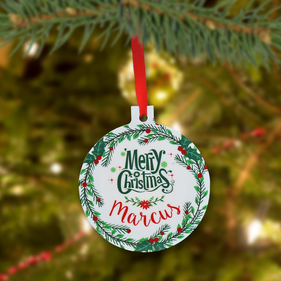 "Personalized ""Christmas Ball"" Metal Ornament"