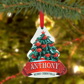 "Personalized ""Christmas Tree"" Metal Ornament"