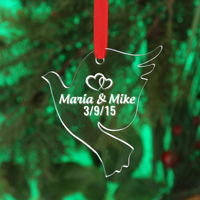 "Personalized ""Love Dove"" Acrylic Christmas Ornament"