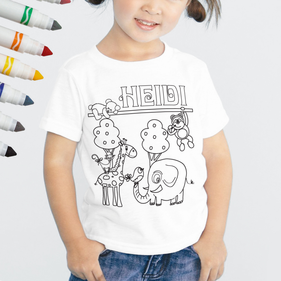 Exclusive Sale - Personalized Add Color Kid's Friendly Animals T-Shirt