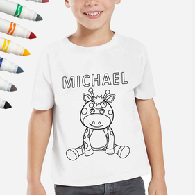 Exclusive Sale - Personalized Add Color Kid's Giraffe T-Shirt